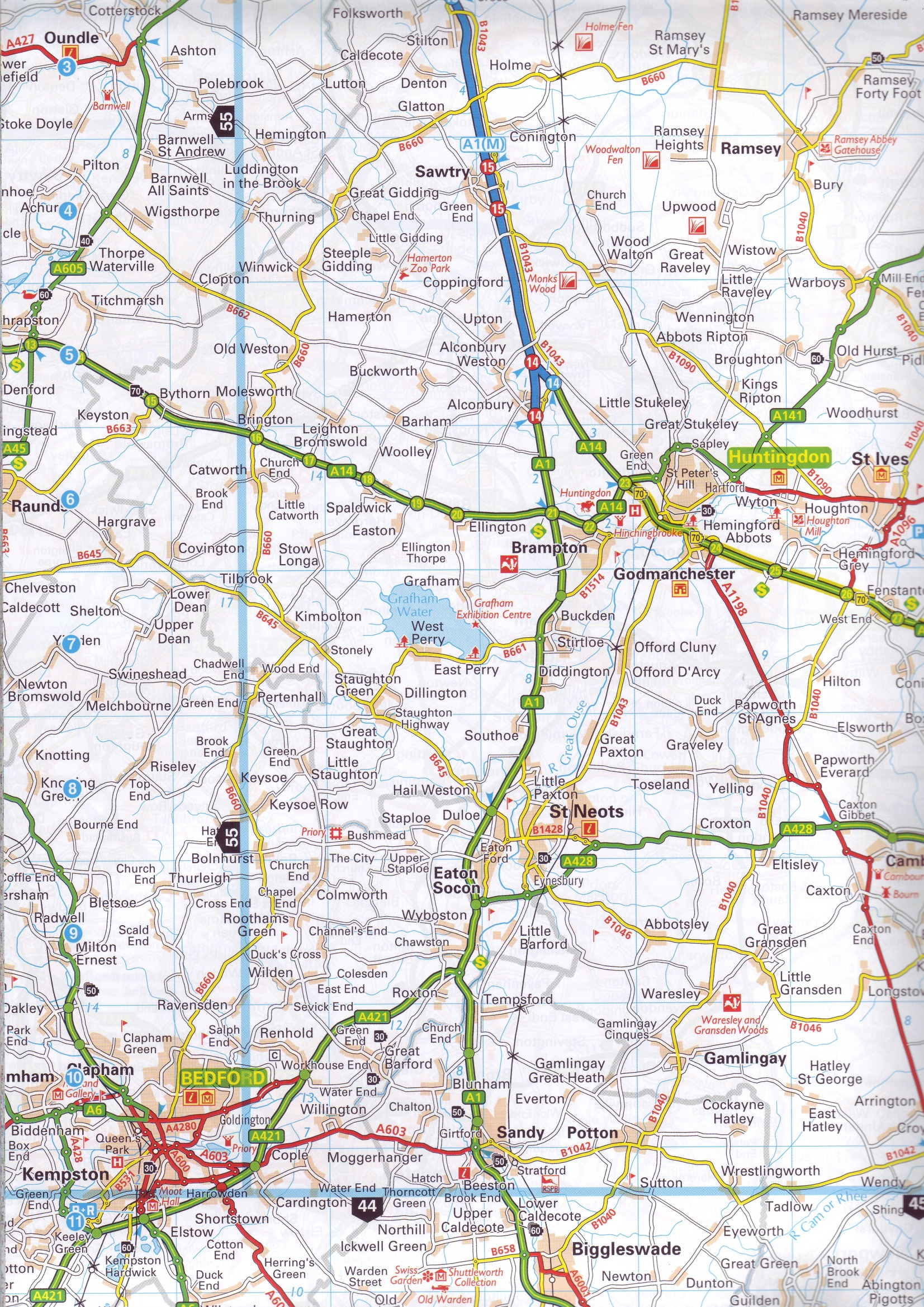 Map Of England Showing Cities And Towns.Road Atlases Great Britain Buy Online
