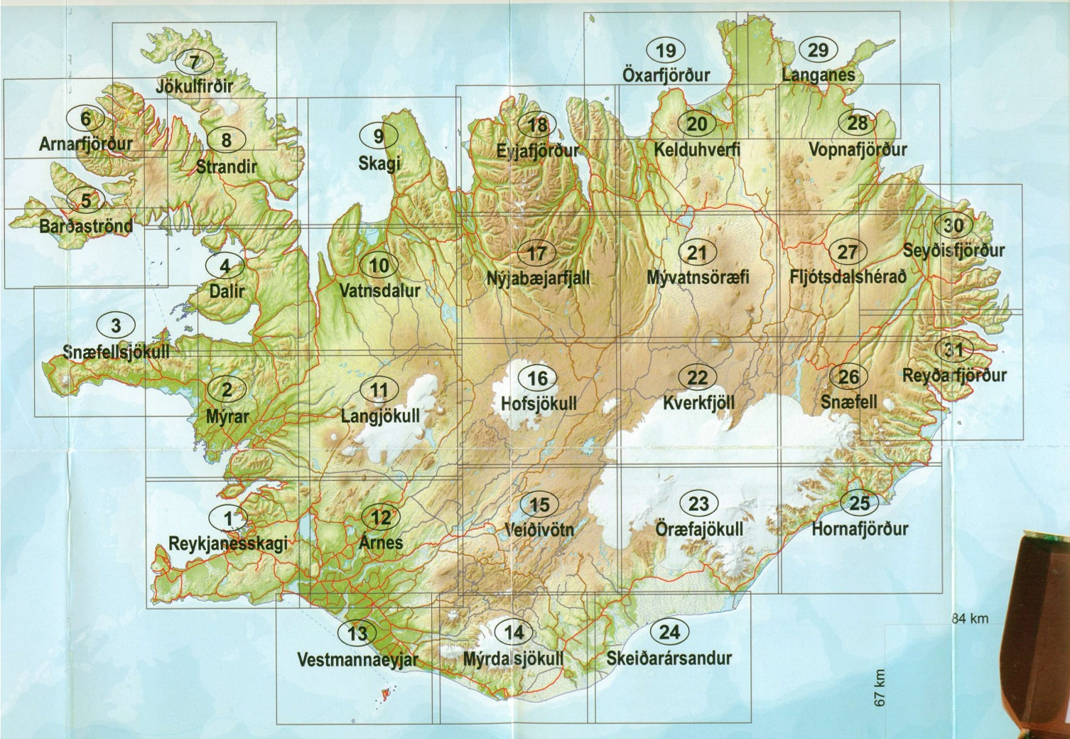 Iceland Buy Maps and travel guides online – Iceland Tourist Attractions Map