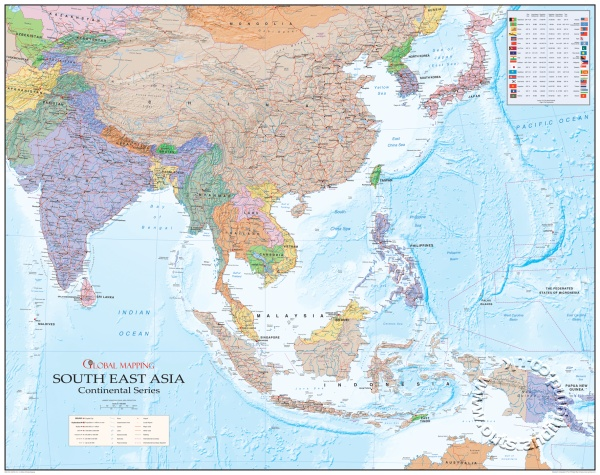 east asia map. Wall Map - South East Asia