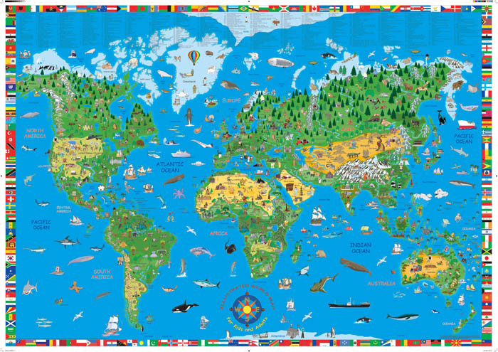 Children and Adults World Map - Pictorial with flags around the edges